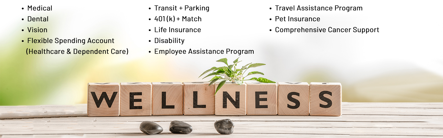 Benefits: medical, dental, vision, flexible spending account, healthcare and dependent care, transit and parking, 401(k) and match, life insurance, disability, employee assistance program, travel assistance program, pet insurance, comprehensive cancer support